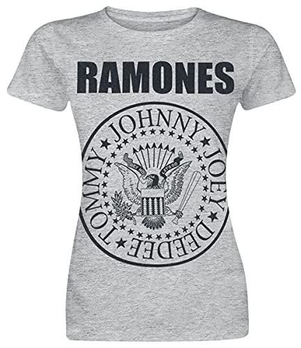 Ramones Seal Mujer Camiseta Gris/Melé L, 90% algodón, 10% poliéster, Regular