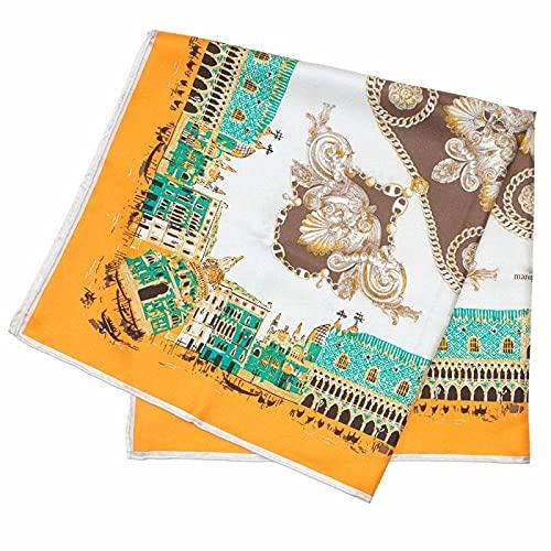 manipuriマニプリscarfシルクスカーフ65×65レディース0111330018CITYNAVYORANGE