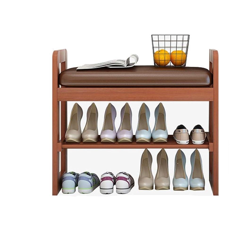 中でクラウド麺装飾された座席L50cmが付いている靴の棚の居間の廊下の靴棚のオルガナイザー 整理しやすくする (色 : Wood, サイズ : 50x30x50cm)