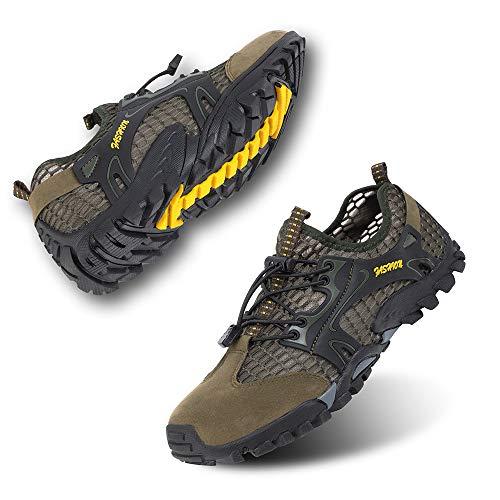 Zapatillas de Trail Running Hombre Barefoot Zapatos de Agua Surf Escarpines Buceo Piscina Playa Trekking Deportes Secado Rápido Verde-1 45 EU