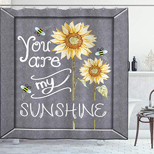 Ambesonne You are My Sunshine Shower Curtain, You are My Sunshine Words on Blackboard Bees Sunflowers Vintage Image, Cloth Fabric Bathroom Decor Set with Hooks, 70 Long, Yellow Grey