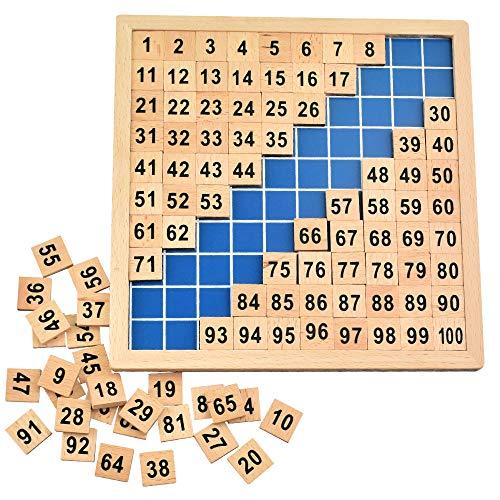 BUZIFU Montessori Mathematik Puzzle Holz Digital Board 1-100 Kontinuierliche Zahlen Kinder Kind Mathe Unterricht Hunderterbrett für frühe Motorik Entwicklung & Ausbildung ihres Kindes