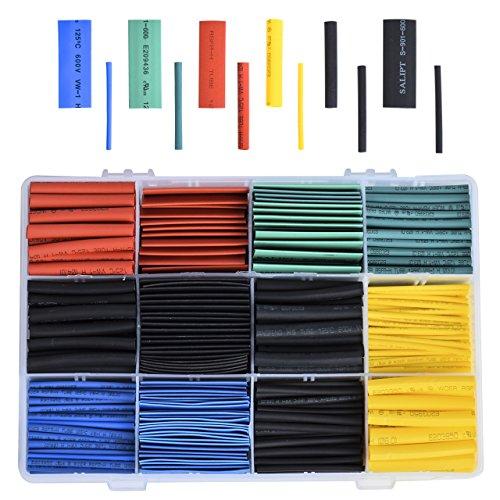 DEDC 530tlg. Schrumpfschlauch Sortiment 2:1 Heat Shrink Tube Schrumpfschläuche Set Wire Wrap mit Box 5 Farben 8 Size 45mm