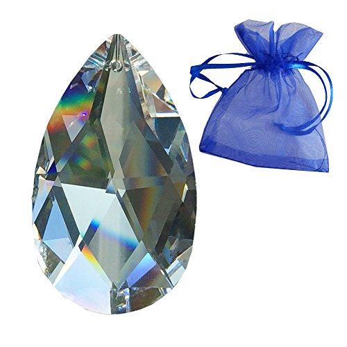 STRASS Kristall Rautenwachtel L. 50mm im feinem Geschenkbeutel Regenbogenkristall Hochwertiges Vollschliff-Kristall von SWAROVSKI Kronleuchter Behang Kristallglas