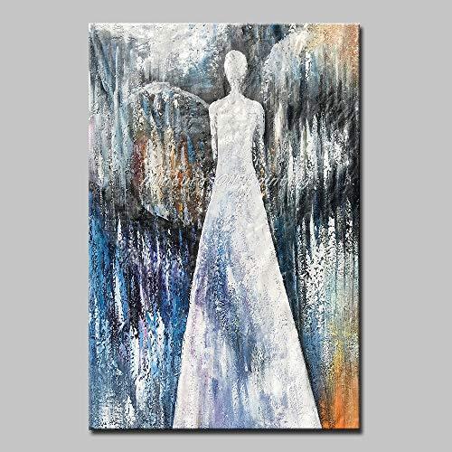 Schilderij olieverfschilderij op canvas, afbeelding met schaduw, mantel wit voor dames, grijs en moderne decoratie groot voor woonkamer slaapkamer restaurant hotel B 80 x 120 cm