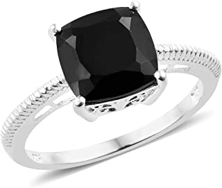 925 Sterling Silver Cushion Black Spinel Engagement Ring for Women Cttw 4.4 Jewelry Gift