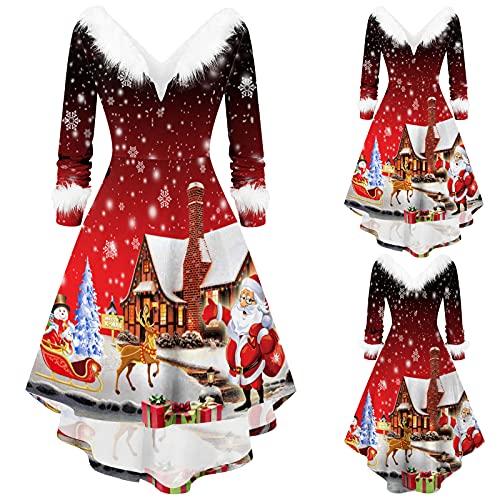FeelFree+ Vestidos Navidad de Fiesta Largos de Noche Mujer Otoño Invierno Faldas de Fiesta Asimétricas con Cuello en V Manga Larga Retro Midi Largo Casual Elegantes Sexy Vestidos