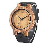 Leyue Reloj de Madera del Reloj de los Hombres, Reloj de patrón de Grabado de Madera de Cebra 3D, Negocio Casual Romance, Salud, Naturaleza y protección Ambiental