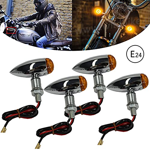 4 x Indicatori di Direzione Mini Frecce Fanali Impermeabile Antiurti per Moto Bobber Scooter Cruiser Quad Off Road.