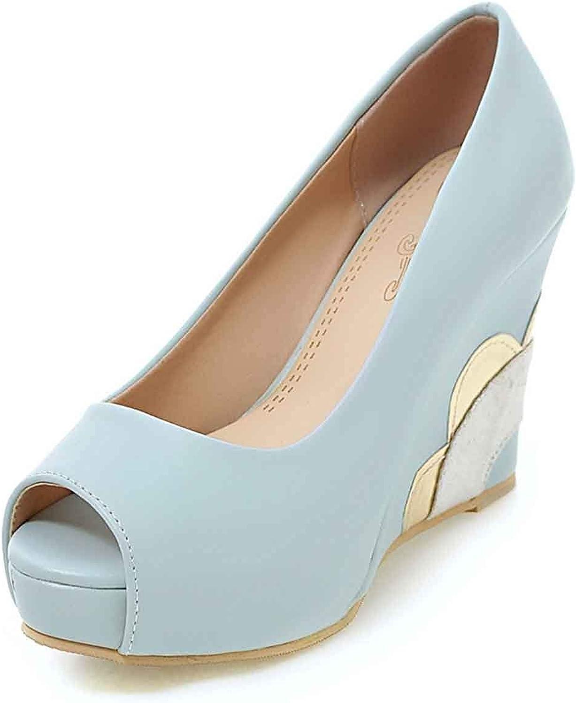Unm Dressy Women's Peep Toe Sandals - High Heels Wedge - Platform Slip On Low Cut
