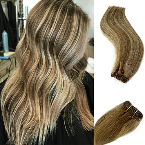 24 Inch Brazilian Hair Weft Sew in Extensions Straight Human Hair Bundles Ombre Brown to Ash Brown with Platinum Blonde Highlights Balayage Hair Bundles Remy Hair for Women 120 Gram