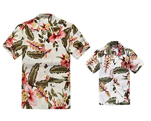 Padre e Hijo a Juego Traje Hawaiano de Luau Camisa de Hombre Camisa de niño Corto Crema Rafelsia 2XL-8