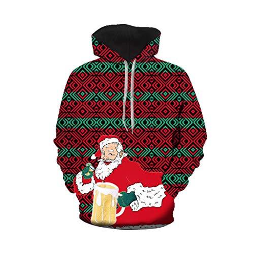ODRD Weihnachtspullover Merry Christmas Xmas Unisex Hoodie - Weihnachtsmann mit Bier Weihnachten feiert Pullover - Hässliche Pulli Weihnachtspulli Damen Herren Weihnachtsparty Sweatshirt