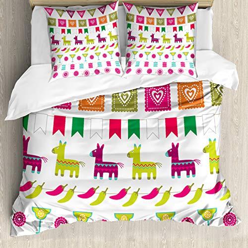 ABAKUHAUS Fiesta Bettbezugs Set Für Doppelbetten, Lateinische Motive Pfeffer, Milbensicher Allergiker geeignet mit Kissenbezügen, Mehrfarbig