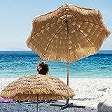 YXW Sonnenschirm Hawaii Strandschirm Gartenschirm 240cm Terrassenschirm Sonnenschutz UV30+ Neigbar Eisen Mast mit 8 stabilen Rippen, natürliche Farbe(ohne Ständer)