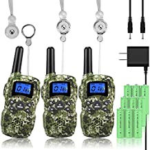 Wishouse Rechargeable Walkie Talkies for Kids with Charger Battery, Two Way Radio Family Talkabout Long Range, Outdoor Camping Hiking Spy Amy Toys Birthday Xmas Gifts for Girls Boys 3 Pack Camouflage