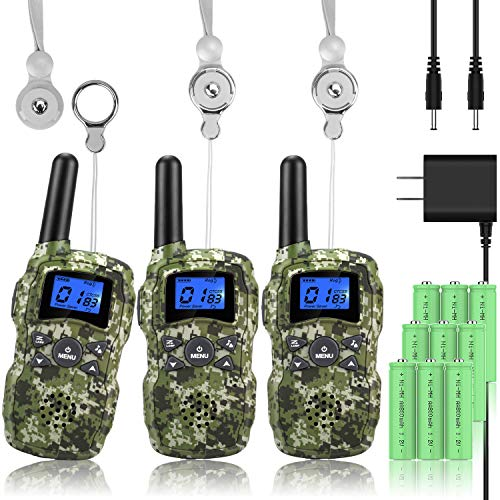 Wishouse Rechargeable Walkie Talkies for Adults Kids with Charger 3X3000mAh Battery, Family 2 Way Radio, Outdoor Camping Hiking Fun Toy Birthday Xmas Gift 3 Pack Camouflage