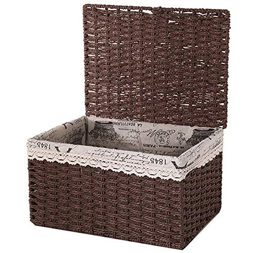 Dust Baskets Storage Box Breathable Rattan Basket with Lid 2 Colors,Brown,40cm*30cm*21cm