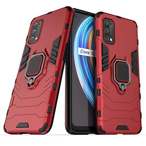Compatible con OPPO Realme X7 Funda, Anillo Metálico Sujeción Soporte Antichoque Caja (Funciona con el Montaje de Coche Magnético) Doble Capa Case Carcasa (Rojo)