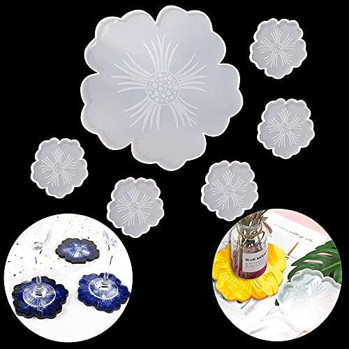 6 piezas de moldes de resina para posavasos de flores moldes de...
