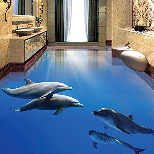 Papel tapiz fotográfico Modern Dolphin Undersea World Azulejos de suelo 3D Etiqueta mural Baño Dormitorio PVC Impermeable Decoración para el hogar Papel de pared-400 * 280cm