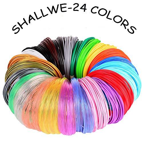SHALLWE Filamento PLA diametro 1,75 mm, Filamento PLA Stampa 3D per Penna 3D, Precisione Dimensionale +/- 0,02 mm, 24 Colori Assortiti