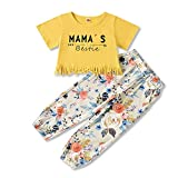 Toddler Baby Girl Clothes Mama's Bestie Short Sleeve T Shirt Tassel Tops Floral Pant Outfit Set 1-5T (Yellow, 4-5T, 4_Years)
