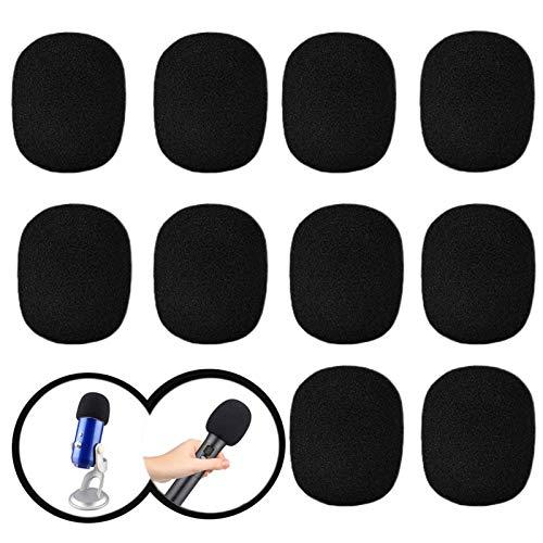 10 Piezas Esponjas Microfonos, Cubiertas de Espuma de Microfono, Espuma de Parabrisas de Micrófono, para KTV, Escenario, Entrevista, Reunión y Actividades al Aire Libre (negro)