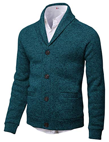 H2H Mens Knitted Fashion Long Sleeve Shawl Collar Button Front Cardigan Bluegreen US L/Asia XL (CMOCAL031)