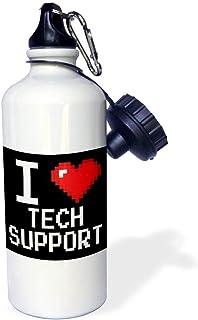 qidushop Geeky - Botella de Agua Deportiva de Acero Inoxidable con píxeles de 8 bits, diseño de corazón, Color Blanco
