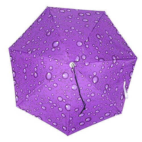 OUKENS Sombrero del Paraguas, Casquillo del Paraguas montado en la Cabeza de 30 Pulgadas Sombrero del Paraguas de la Pesca Casquillo Plegable de la Lluvia del Sol(Gota de Lluvia Violeta)
