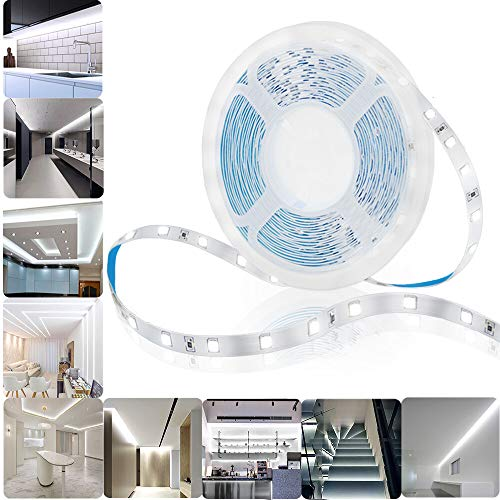 Tira de luz LED de 5 m, luz blanca fría, 2835 SMD, 300 LED, 12 V, luz de cinta flexible con fuente de alimentación de seguridad para cambiador, dormitorios, cambiador, vitrina, enchufe adaptador incluido