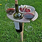 Sofia's Folding Wine Table Wood, Small Wooden Portable Coffee Table, Portable Folding Wine and Champagne Picnic Table For Outdoor Sand and Grass,Camping, Beach, Outdoor Dinner