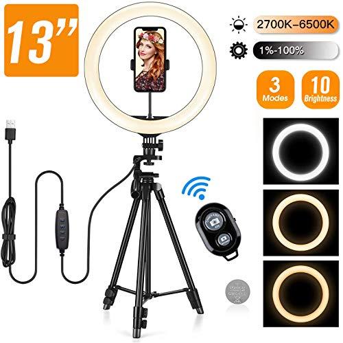 """13"""" Selfie Ringleuchte mit Stativ und Handhyhalter für Handys und Kameras, 164pcs LED Bulbs Chip Ring Licht- 3 Lichtmodi 11 Helligkeitsstufen mit Fernauslöser für Youtube, Make-up, live Stream, Tiktok"""