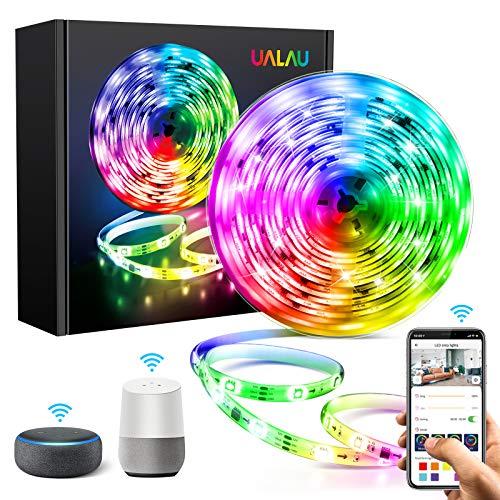5M WIFI Striscia LED Alexa, UALAU Smart Strisce LED Compatibile con Alexa Echo/Google Home, Sync con Musica Luci LED Impermeabile IP65 con 150 LEDs 5050 SMD per TV, Stanza da letto, Feste Decorazioni