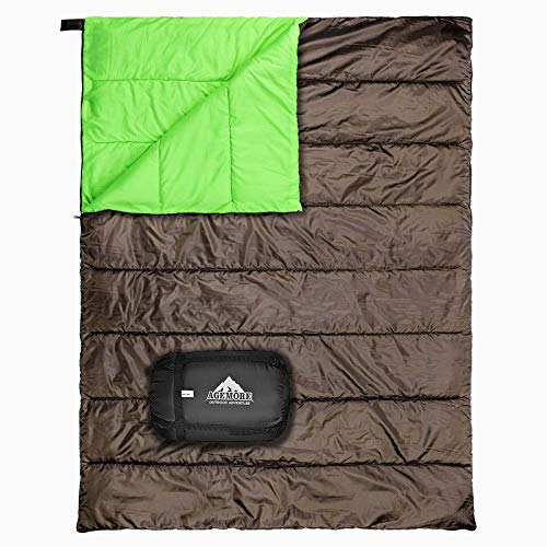 Saco de dormir doble 3 estaciones, saco de dormir para adultos, ligero y resistente al agua para 2 personas para acampar, caminar, mochilear y al aire libre, se convierte en 2 camas individuales