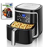 Large Air Fryer 7.4 Quart Electric Digital Touchscreen Airfryer Oilless Cooker with 8 Presets, Recipe Book, Removable Basket, Power 1500-Watt