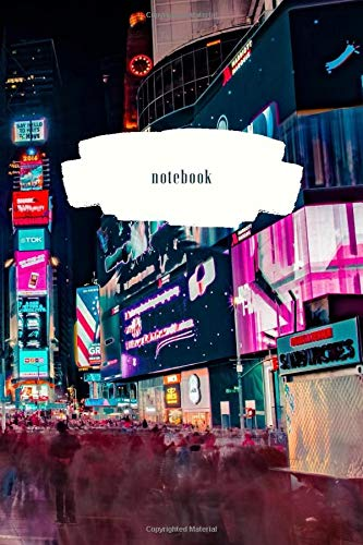 Notebook Journal: Lined Pages - Times Square New York Wrap-Around Cover Art Design - 120 Pages – Medium (6 x 9 inches)