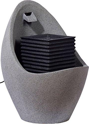 dobar Großer Design Garten-Brunnen mit Pumpe und LED´s, Polyresin, grau-schwarz, 49.5 x 49.5 x 66.5 cm, 96140e