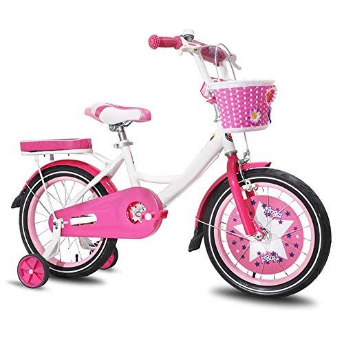 Axdwfd kinderfiets 12/14/16 inch kinderfiets met trainingswiel, geschikt voor 3-8 jaar oud meisje prinses fiets, met achterbank en mand