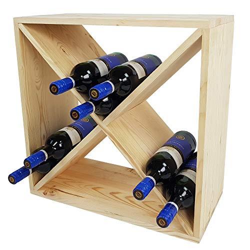 DILUMA Weinregal Bacchus X-Cube 52 x 52 x 25 cm Natur für 24 Flaschen - Flaschenregal mit X-Form - Weinständer - Kiefernholz