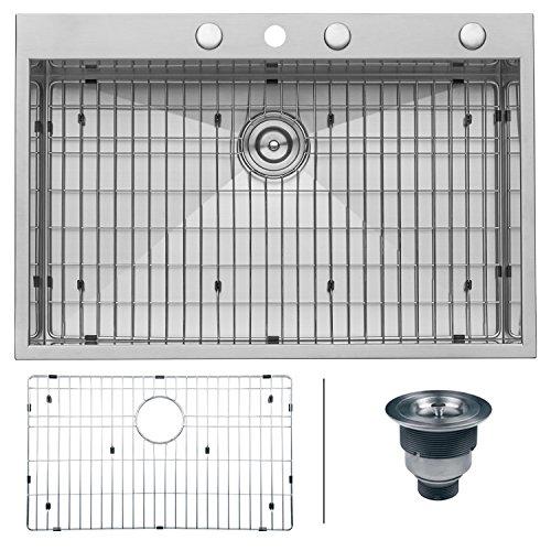 Ruvati 33 x 22 Inch Drop-in Topmount 16 Gauge Zero-Radius Stainless Steel Kitchen Sink Single Bowl - RVH8001