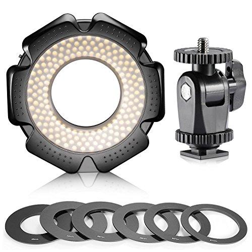 Neewer R-160 160pz 5600K 10W Mini Anello Luce LED Macro con 6 Anelli Adattatori (49mm 52mm 55mm 58mm 62mm 67mm) per Obiettivi Macro Canon Nikon Sony Sigma Tamron