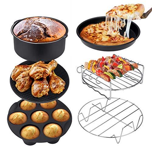 Ultrean Air Fryer Accessories,Set of 6 Fit All 5.8Qt,6Qt Air Fryers,BPA Free,Non-Stick,Dishwasher Safe,XL