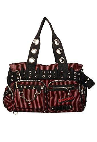 Banned Damen Handtasche mit Handschellen-Details, Rockabilly-Look, Leinwand, rot - rot - Größe: Large
