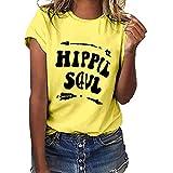 PinkLu Hippie Soul Kurzarm, Tops Damen Sommer ärmellos sexyOberteil bedrucktes T-Shirt Frau große Größen schulterfrei elegant blusen locker Basic lässig Tunika Schwarz grau weiß (S-XXXL)