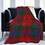 Clan Robertson Scottish Accents Red Green Tartan Fleece Blanket Throw Lightweight Blanket Super Soft Cozy Bed Warm Blanket for Living Room/Bedroom All Season