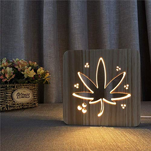 HtapsG Lámpara Escritorio Ye decoración Creativa lámpara de Mesa Madera Luminosa 3D Hueco LED USB Dormitorio habitación de los ni?os Cumplea 19 * 19 cm Escritorio