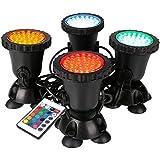 AORUNZHI Fernbedienung LED-Beleuchtung Gartenteichleuchten, Teichstrahler, farbwechselnde Aquariumleuchten mit Fernbedienung (4er-Set)