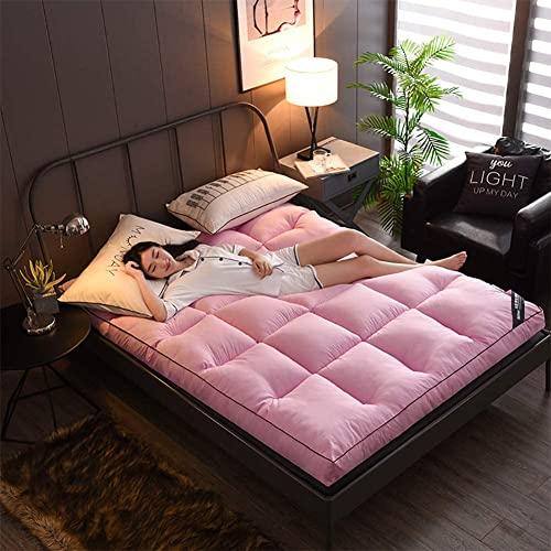 YCQ Tapetes Suaves, Fundas de colchón de futón más Gruesas, Protectores de colchón Premium para hoteles Acolchados para Adaptarse a tapetes de Tatami Antideslizantes (Color : Pink, Tamaño : Queen)